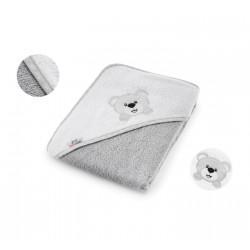 BOCIOLAND Ręcznik dla Niemowląt Kapturkiem MIŚ 100x100 szary