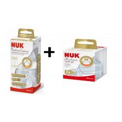 NUK  Zestaw Butelka NATURE SENSE 150ml. +2 smoczki silikonowe GRATIS