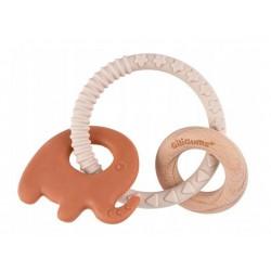 GILIGUMS Gryzak pierścień-słoń brąz,silikon,drewno