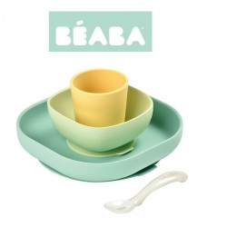 BEABA Komplet naczyń silikowych z przyssawką yellow