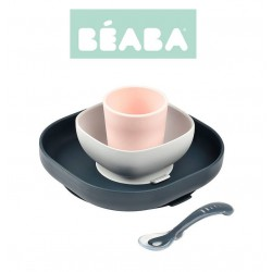BEABA Komplet naczyń z silikonu z przyssawką dark blue
