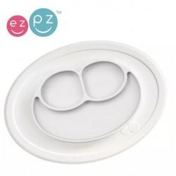 Silikonowy talerzyk EZPZ z podkładką mały 2w1 biały