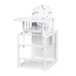 KLUPŚ Krzesełko do Karmienia z Funkcją Stolika LILY Białe