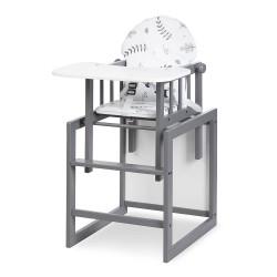 Krzesełko do Karmienia Szare z Funkcją Stolika LILY KLUPŚ