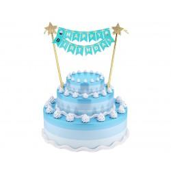 Dekoracja na tort Napis Happy Birthday Niebieski