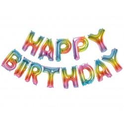 Balon foliowy Tęczowy Napis Happy Birthday