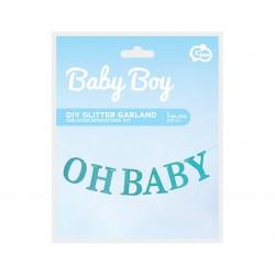 GoDan Girlanda Papierowa Brokatowa OH BABY niebieska