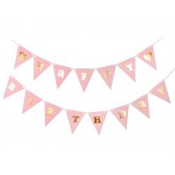 Girlanda Papierowa Happy Birthday różowa