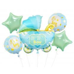 GoDan Balony foliowe na Baby Shower 5szt  Wózek Niebieski