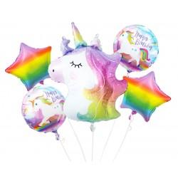 Balony foliowe Zestaw 5szt Jednorożec Happy Birthday