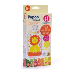 PAPOO Wielorazowe saszetki na pokarm dla dzieci LION 6szt