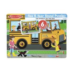 Melissa & Doug Puzzle Dźwiękowe Drewniane Autobus Szkolny 10739