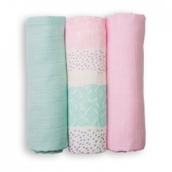 LULUJO Mini Pieluszki Bambusowe Pink Tropical 3szt