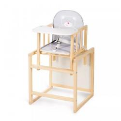Klupś Krzesełko do Karmienia Wielofunkcyjne AGA sosnowe z Szarą Tapicerką
