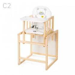 Klupś Krzesełko Wielofunkcyjne AGA sosnowe Biała Tapicerka