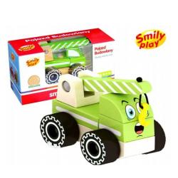 SMILY PLAY Pojazd Budowlany Drewniany Dźwig
