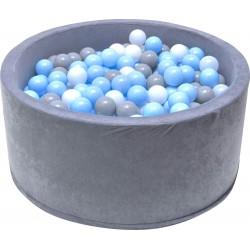 SUCHY BASEN z Piłeczkami SZARY Błękitne Kulki 200szt 90x40